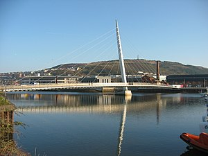 Swansea University Rowing Club - View of the Sail Bridge over the River Tawe from SURC trailer area