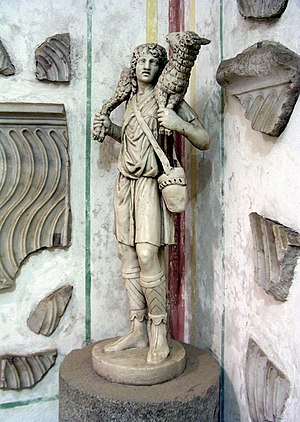 Good Shepherd - The Good Shepherd, c. 300-350, at the Catacombs of Domitilla, Rome