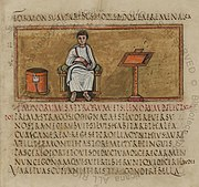 Folio 14 recto of the 5th century Vergilius Romanus contains an author portrait of Virgil. Note the bookcase (capsa), reading stand and the text written without word spacing in rustic capitals.