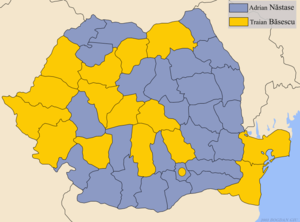 Romanian general election, 2004 - Winner by county in the runoff