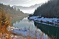 Rosegg Froeg neues Flussbett der Drau zum Kraftwerk 31122010 666.jpg