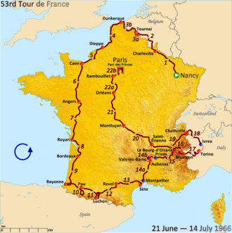 1966 Tour de France - Route of the 1966 Tour de France