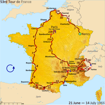 Map of France with the route of the 1966 Tour de France