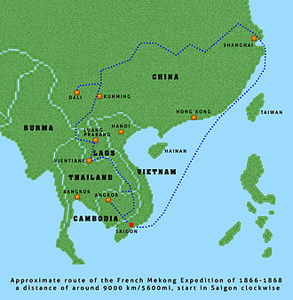 Mekong expedition of 1866–1868 - Route of the expedition