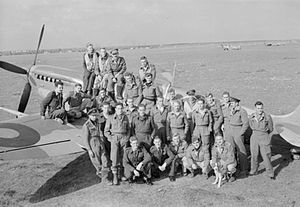 Lance C. Wade - Squadron Leader Wade, second from right, with 145 Squadron pilots at Triolo Airfield, Italy