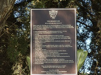 Will Rogers Memorial Park - Image: Rules of Use and Conduct sign of the Will Rogers Memorial Park in Beverly Hills, California