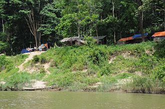 Batek people - Batek houses in Taman Negara, Malaysia.