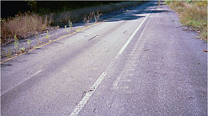 Abandoned Pennsylvania Turnpike - Test rumble strips from the SNAP project, just outside the western portal of the Rays Hill Tunnel