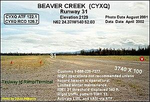 Beaver Creek Airport - Image: Runway 31, Beaver Creek airport, Yukon