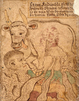 Auðumbla - Auðumbla licks free Búri as she produces rivers of rivers of milk from her udders in an illustration from an Icelandic 18th century manuscript of the Prose Edda