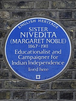 Sister nivedita (margaret noble) 1867 1911 educationalist and campaigner for indian independence lived here