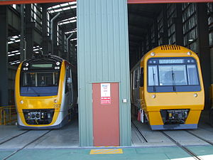 Downer Rail - Queensland Rail Suburban Multiple Units at Downer Rail's Maryborough factory in September 2010