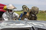 SPMAGTF-CR-AF Marines & Spanish firefighters conduct vehicle extrication training 160427-M-QM580-001.jpg