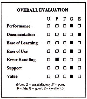 English: Evaluation check boxes for software r...
