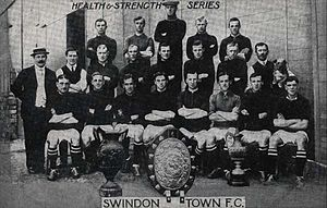 History of Swindon Town F.C. - Swindon Town team for the 1911-12 season, posing with the Dubonnet Cup