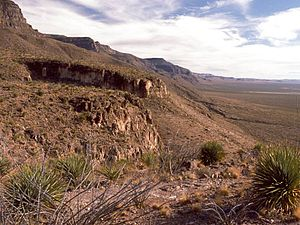 Sacramento Mountains (New Mexico) - The western escarpment of the Sacramento Mountains, looking south from Dog Canyon.