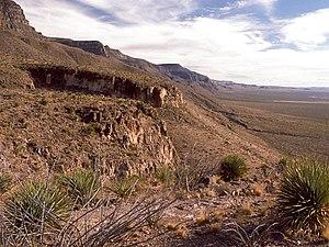 Sacramento Mountains (New Mexico) - The western escarpment of the Sacramento Mountains, looking south from Dog Canyon.