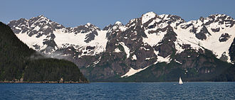 Kenai Fjords National Park - A sailboat near the mouth of Thumb Cove, in Resurrection Bay