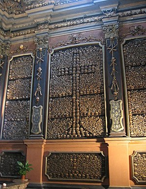 San Bernardino alle Ossa - One wall of the ossuary