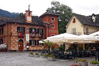Santa Maria Maggiore, Piedmont - Piazza Risorgimento with the ex seat of the municipality