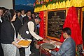 Santosh Kumar Gangwar laying the foundation stone of the Apparel and Garment Manufacturing Centre in Sikkim, at Gangtok on March 25, 2015. The Chief Minister of Sikkim, Shri Pawan Chamling is also seen.jpg