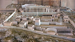 Delphi Archaeological Museum - Reconstruction of the Sanctuary of Apollo, Delphi.