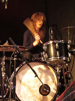 Let's Active - Sara Romweber on drums at Let's Active reunion show