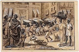 Scène de la Rua Direita. Nègres porteurs de caffé - Negresses affranchies Nègre affranchi - Voyageur affricain