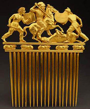 Greco-Scythian golden comb, from Solokha, early 4th century, Hermitage Museum Scythian comb.jpg