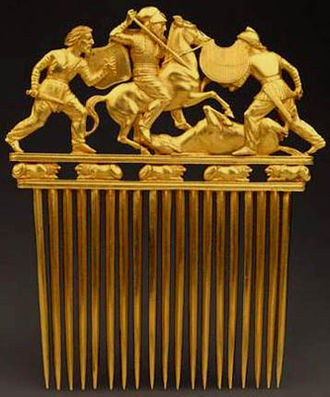 Scythian art - Scythian golden comb, made by Greeks probably to Scythian taste, from Solokha, early 4th century, Hermitage Museum
