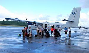 Henry E. Rohlsen Airport - A Seaborne Airlines DHC-6 Twin Otter unloading passengers