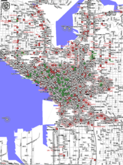 A map of Seattle's Wi-Fi nodes, generated from information logged by wardriving students in 2004.