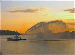 Seattle fireboat in Elliot Bay.