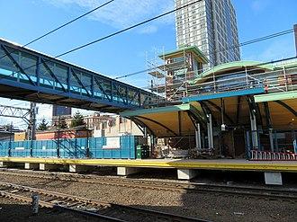 New Haven State Street station - Second platform under construction in December 2017