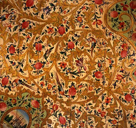 Section of a Ceiling from the Narinjistan Mansion, ca. 1870. These sections of a painted wood ceiling come from the public audience hall of the Narinjistan (Orange Garden) mansion in Shiraz, in southwestern Iran. Construction of this residence, noted for its opulent surface decorations and mirror work, was begun in 1870 by Mirza Ibrahim Khan and completed in 1885 by Muhammad Riza Khan, who belonged to the prominent Qavam family of Shiraz. Brooklyn Museum - Shiraz