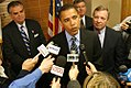 Senator Obama at Springfield Office opening on January 10, 2005 with press.jpg