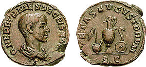 Lituus - A lituus (reverse, right, over the patera) as cult instrument, in this coin celebrating the pietas of the Roman Emperor Herennius Etruscus.