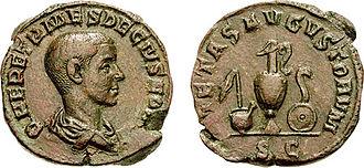 Lituus - A lituus (reverse, right, over the patera) as cult instrument, in this coin celebrating the pietas of the Roman Emperor Herennius Etruscus.