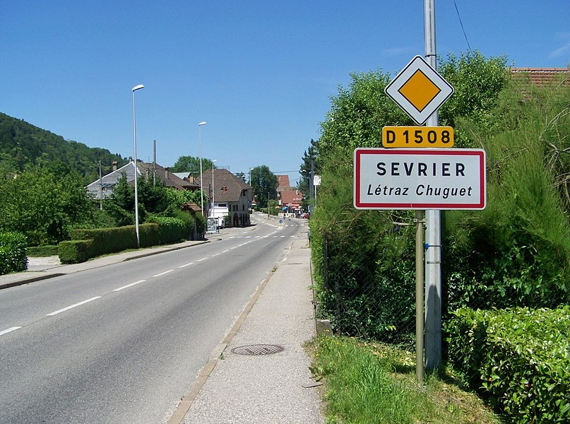 Sign of Létraz Chuguet hamlet, in French commune of Sevrier near Annecy in Haute-Savoie.