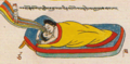 Sexual intercourse, Illustration (Conception to Birth) from Ornament to the Mind of Medicine Buddha- Blue Beryl Lamp Illuminating Four Tantras written about 1720 by Desi Sangye Gyatso, the regent (Desi) of the 5th Dalai Lama (cropped).png
