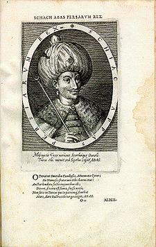 Safevi hükümdarı Şah Abbas'ın 1600'de Dominicus Custos tarafından bakır üzerine oyulmuş gravürü