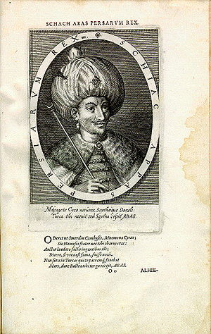 Abbas I of Persia - Shah 'Abbās King of the Persians. Copper engraving by Dominicus Custos, from his Atrium heroicum Caesarum pub. 1600–1602.