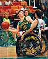 Sharon Slann passes Women's wheelchair basketball, Atlanta 1996.jpg