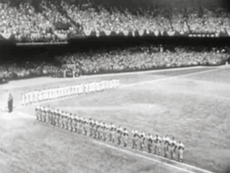 1950 World Series - The Yankees and Phillies lining up prior to Game 1 at Shibe Park.