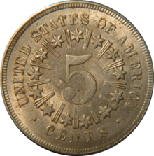 Shield nickel with rays by Howard Spindel.png