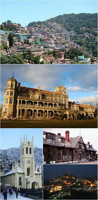 Shimla - Clockwise from top: Skyline at Shimla Southern Side, Indian Institute of Advanced Studies, Town Hall, Night view of Shimla and Christ Church.