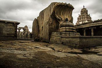 Shiva Ling guarded by snake at Lepakshi Temple - Indupura.jpg