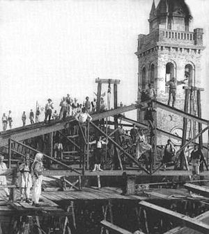 Shkodër - The construction of the Cathedral of Shkodër in 1867.