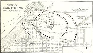 First Battle of Lexington - A map of the last three days of the battle