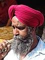 Sikh Man outside Hazratbal Shrine - Srinagar - Jammu & Kashmir - India (26238049393).jpg